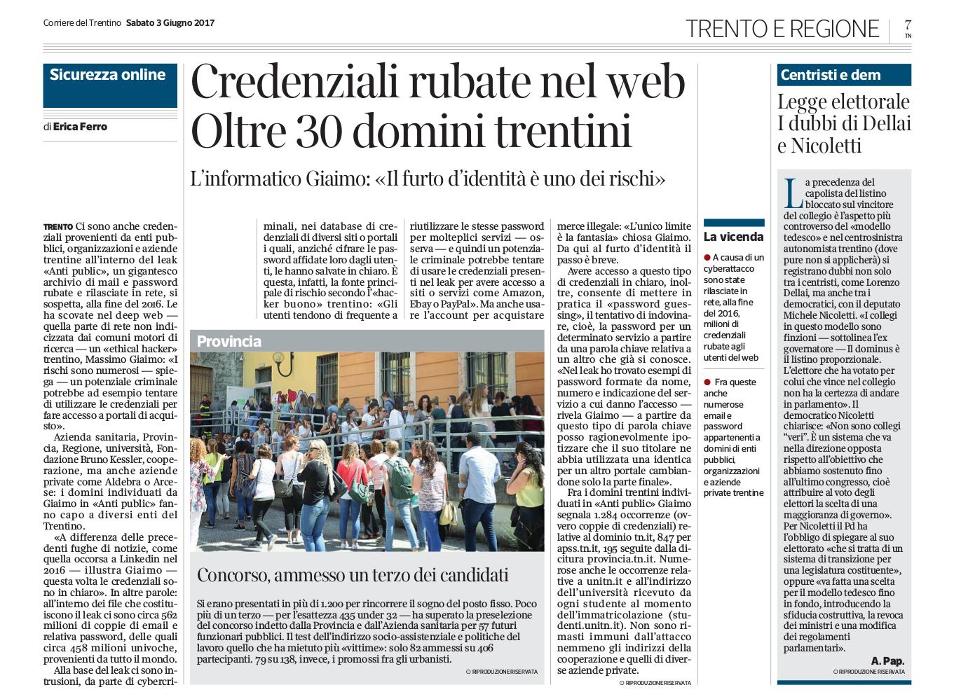 Articolo Corriere del Trentino del 3 giugno 2017