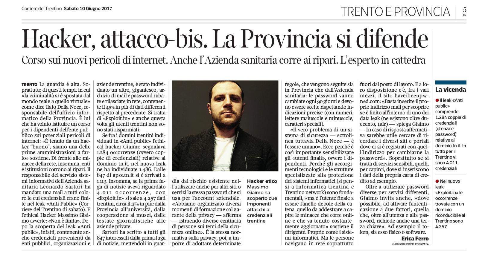 Articolo Corriere del Trentino del 10 giugno 2017